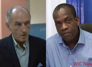 Kieron Pinard-Byrne, left, and Dominica opposition Lennox Linton.