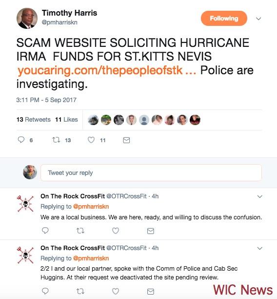 screenshot of timothy harris / fundraiser tweets