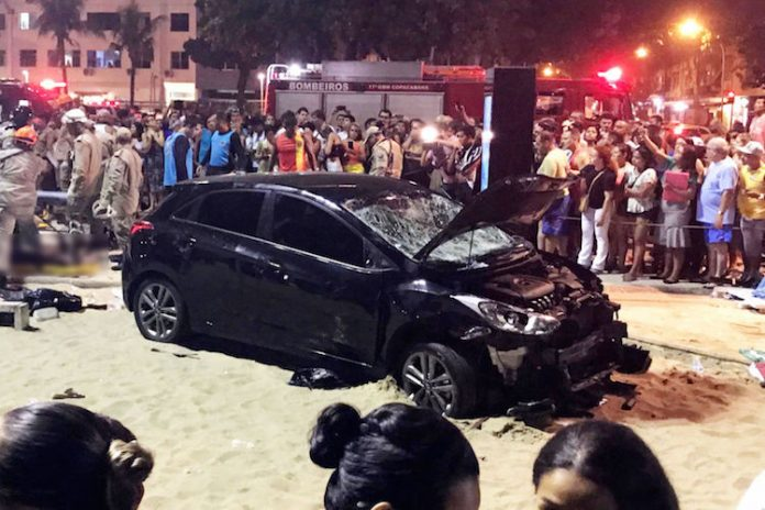 Vehicle drives into crowds on Copacabana Beach promenade